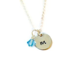 Initial Name Necklace with Swarorski Crystal