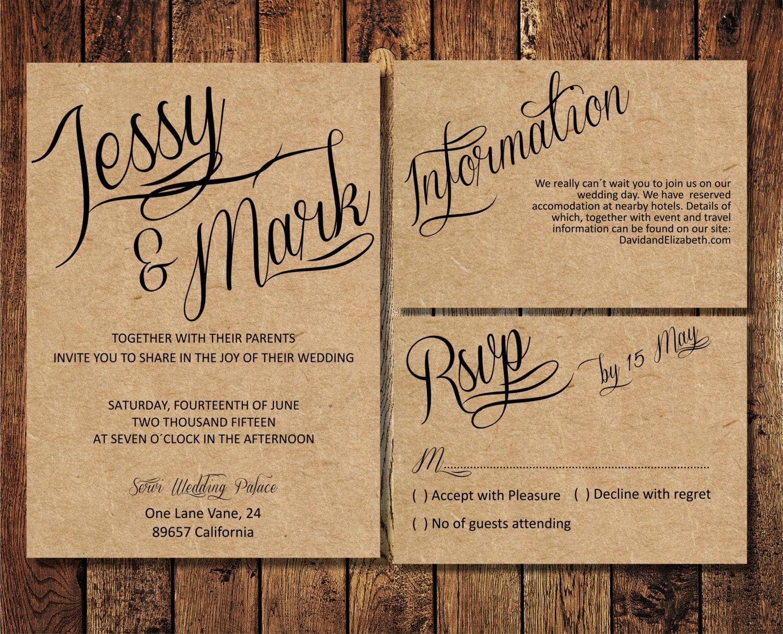 Cheap Rustic Wedding Invitations: Rustic Wedding Invitation Suite Kraft Paper Calligraphy