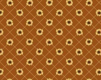 Sunflower Farm - Sunflower Lattice on Rust Fabric
