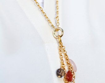 24 inch gold plated chain necklace with dangling beads