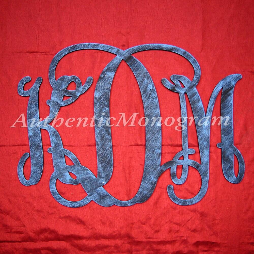 18inch Wooden Monogram Unpainted Vine Script Monogram Home