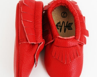 Brand New 100% Leather RED Moccasins Baby Toddler Boys Girls Shoes Soft Soles Moccs