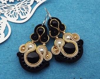 Rivoli Black, Cream & Gold Soutache Earrings
