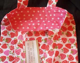 Red pink Strawberries stars reversible shopper tote bag