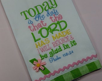 Embroidered Towels, Christian Dishtowels, Christian Kitchen Towels, Kitchen Towels embroidered, Bible Verse Kitchen Towel