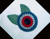 Handmade Penny Felt Brooch Pin in Navy Blue, Gray and Dusty Red