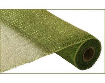 21 inch Moss Green Metallic Deco Poly Mesh, Moss Green Deco Poly Mesh, Moss Green Metallic Mesh, Moss Green Metallic Sinamay - RE100149
