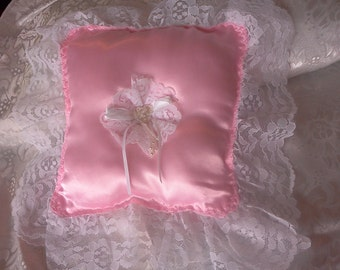 Dainty Pink satin Wedding ring pillow rosette white  lace