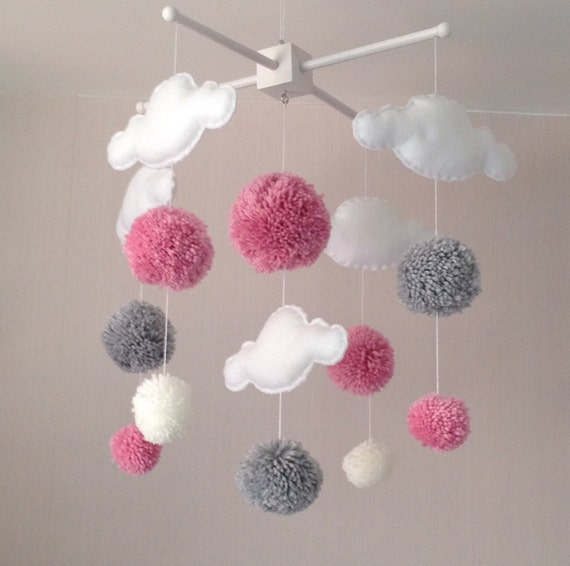 baby mobile cot mobile clouds and pom poms cloud mobile. Black Bedroom Furniture Sets. Home Design Ideas