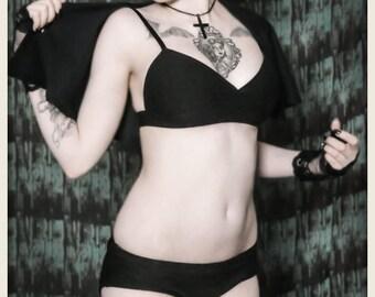 Swim Noir: Exquisite Dominance 2 piece bathing suit with cape