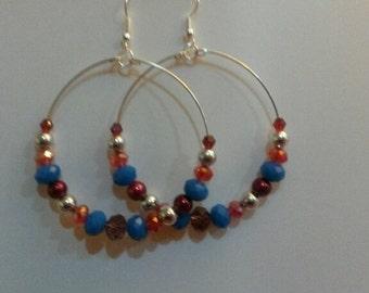 Silver, Red and Blue Hoop Drop Earrings