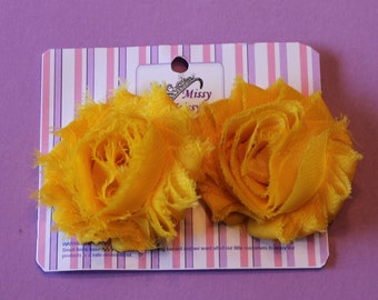 Yellow Shabby Chic Flower Hair Bow Hair Clips