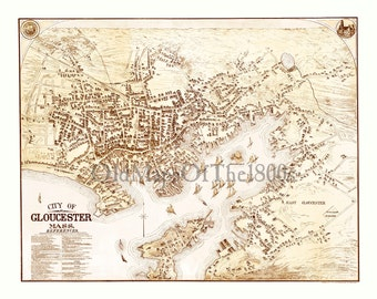 Gloucester, Massachusetts in 1873 - Bird's Eye View Map, Aerial, Panorama, Vintage, Antique, Reproduction, Giclée, Framable, Fine Art