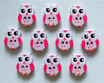 10 Wooden Owl Buttons # SB-00091