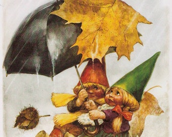 Vintage art print 80s. 2 little gnomes in the rain under an umbrella. By Rien Poortvliet.
