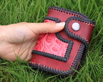 Handmade Leather Wallet - Pink