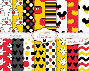 "Mickey Mouse Inspired Digital Paper ""MICKEY MOUSE"" with red and yellow backgrounds, Mickey shoes, hands making hearts, Mickey silhouettes."