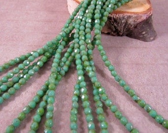 MOSSY PICASSO 2mm Turquoise Picasso Firepolish Czech Glass Faceted Round Beads - Turquoise Aqua Green Moss Green Earthy - Qty 50 2-025