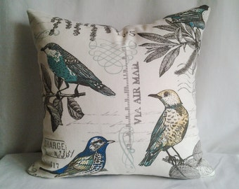 French Country Vintage Bird Pillow Cover, 18x18 Pillow Cover, Decorative Pillow, Toss Pillow, Cardinal Pillow, Summer, Spring Decor