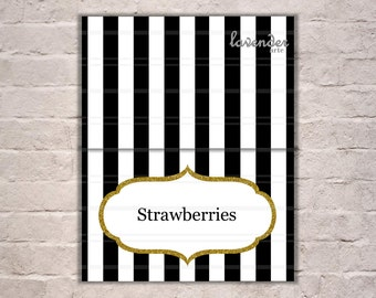 Black and White Stripes Tent Card, Gold Glitters Food Tents, Party Decor, Birthday, Bridal Shower, Baby Shower, Printables, Instant Download