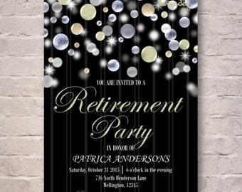 Silver Pearl Glitter Retirement Party Invitation, DIY Printable Retirement Invite, Adult Party Invite, Woman's Retirement, Man's Retirement
