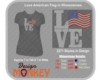 Love American Flag in Rhinestones T-Shirt