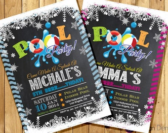 Winter Pool Party Birthday Invitations /  Winter Snow Pool Party /Chalk Board/Printable Digital. #K1034