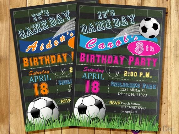 soccer birthday invitation  sports theme invitation  boys or