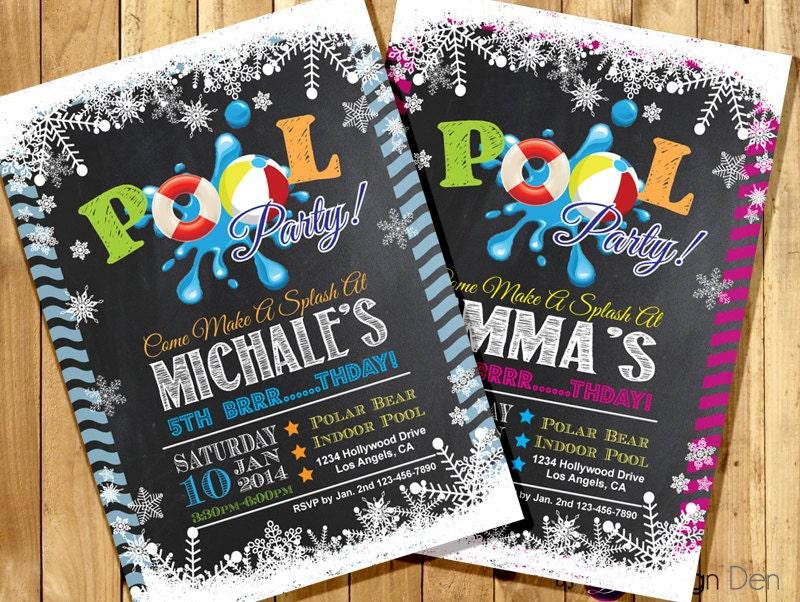 winter pool party birthday invitations    winter snow pool