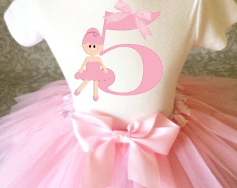 Fast Ship - Birthday Light Pink Ballerina Ballet Dance Dancer 5th Fifth Age 5 Shirt & Tutu Set Girl Outfit Party 3t 4t 5t 5/6 7