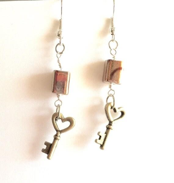 Heart-Shaped Skeleton Key Earrings