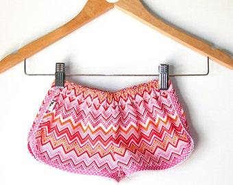 Pink & White Chevron Sporty Shorts