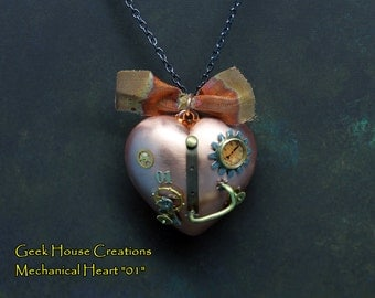 Steampunk Mechanical Copper Heart Pendant with Vintage watch parts. Handmade jewelry.