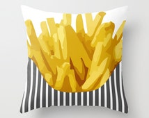 Food Pillow Chip - Decorative Pillow - 16x16 18x18 20x20 - Cute Pillow - Potatoes Kitchen Decor - Kids Room Decor -  Accent Pillow - Kitchen