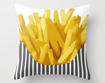 Food Pillow Chip - Decorative Pillow - 16x16 18x18 20x20 - Cute Pillow - Potatoes Kitchen Decor - Kids Room Decor -  Accent Pillow - Kitchen