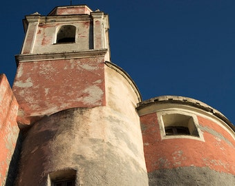 Tellaro photography, Cinque Terre, Five Lands, Italian village, Italy, church photography, bell tower, blue sky. Fine Art.