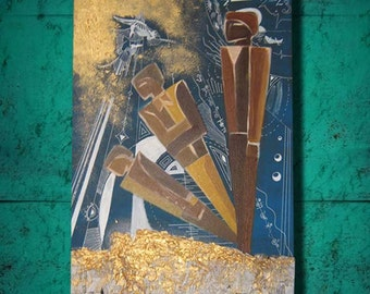 The Journey...Original oil newspaper gift wall decoration painting...blue bronze brown yellow....70 x 50 cm