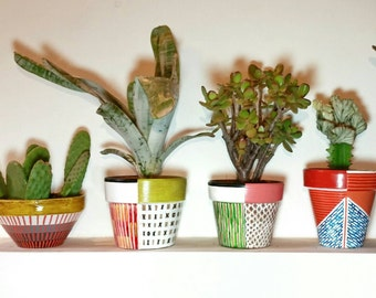 Terracotta hand painted pots