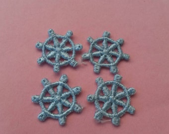 4 Small Mini Blue Ship Boat Applique Sew On Patch 3/4 Inch Wide