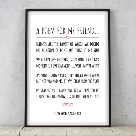 Late Wedding Gift Poem : ... Friends Poem Print / Picture - Great birthday / thank you gift present