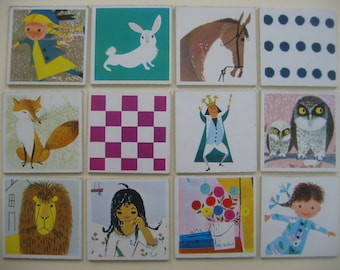 12 vintage Memory playing cards game from 60s