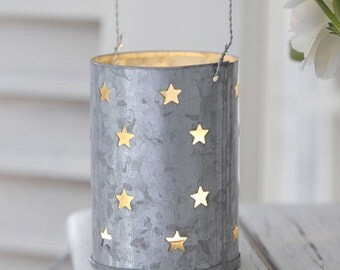 Hanging Zinc Tee Light Candle Holder With Cut Out Stars