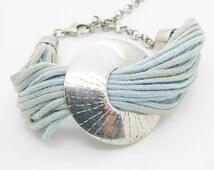 Vintage 925 Sterling Silver Disc Strand Bracelet