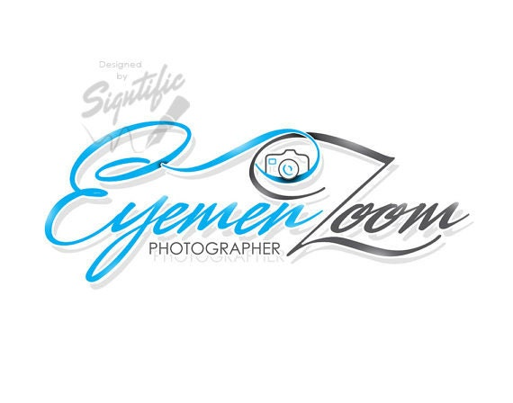 Photography logo, FREE watermark, photographer logo, photo watermark, camera logo design, blue and gray logo, signature name logo design