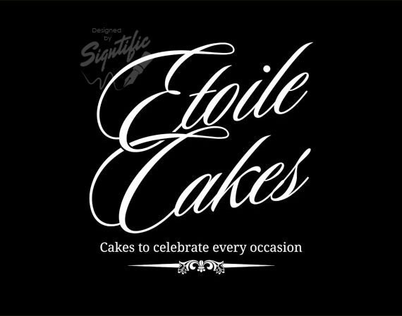 Cake business logo - FREE business card design, and PSD, custom white and black logo, premade logo, graphic design logo, bakery logo design