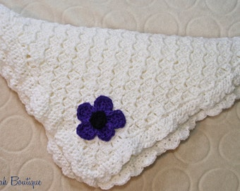 Frilly Flower Crochet Baby Blanket