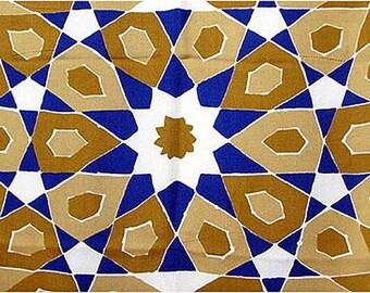 Vintage 1960s VERA Long Silk Scarf Mosaic Print