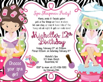 Spa Slumber Party Birthday Invitation