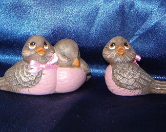 Ceramic Love Bird Set - Pink Ribbons - Bird Decorations - Birds - Love Birds