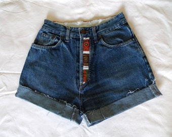 High waisted blue denim jean shorts 80s vintage retro rolled up frayed button fly jean shorts XS Small